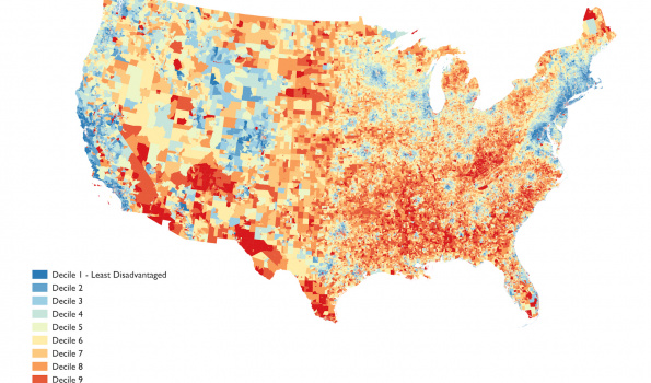 Map of socioeconomic neighborhood disadvantage in the United States