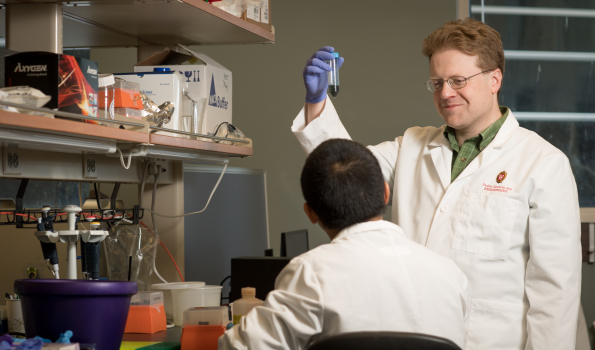 Dudley Lamming, PhD, associate professor, Endocrinology, Diabetes and Metabolism, works in his lab