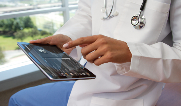 stock photo of doctor on a tablet