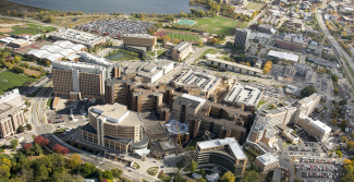 Aerial photograph of UW Hospital campus