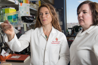 Lee Eckhardt, MD, MS, in her lab with assistant scientist Louise Reilly, PhD