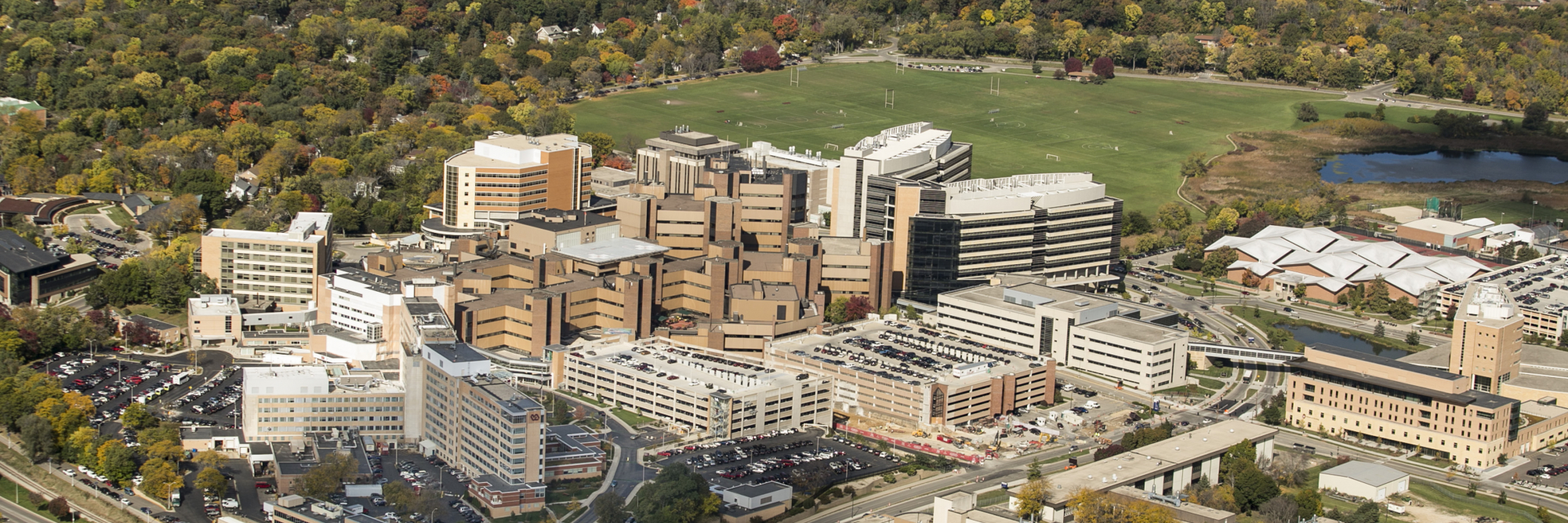 Aerial photo of UW-Madison west campus, including UW Hospitals and Clinics